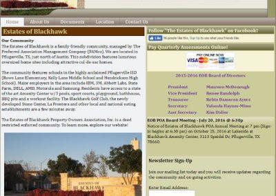 Estates of Blackhawk HOA – Website