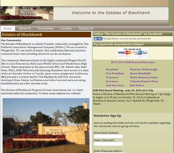 Estates of Blackhawk HOA – Website